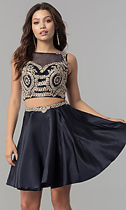 Image of two-piece short homecoming dress with metallic lace. Style: DQ-2106 Front Image