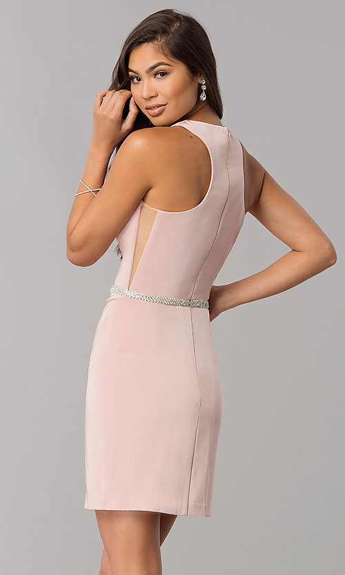 Image of short racerback homecoming dress with rhinestones. Style: DQ-2065 Back Image