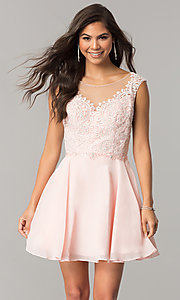 Image of beaded-applique-bodice short chiffon homecoming dress.  Style: DQ-2051 Detail Image 1