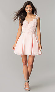 Image of beaded-applique-bodice short chiffon homecoming dress.  Style: DQ-2051 Detail Image 2