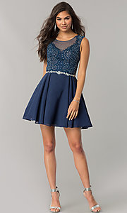 Image of beaded-applique-bodice short chiffon homecoming dress.  Style: DQ-2051 Detail Image 3