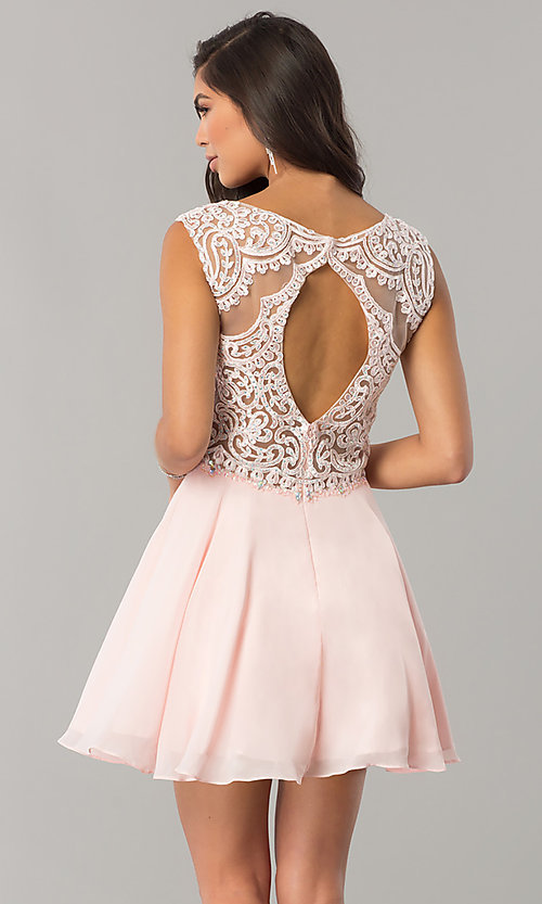 Image of beaded-applique-bodice short chiffon homecoming dress.  Style: DQ-2051 Back Image