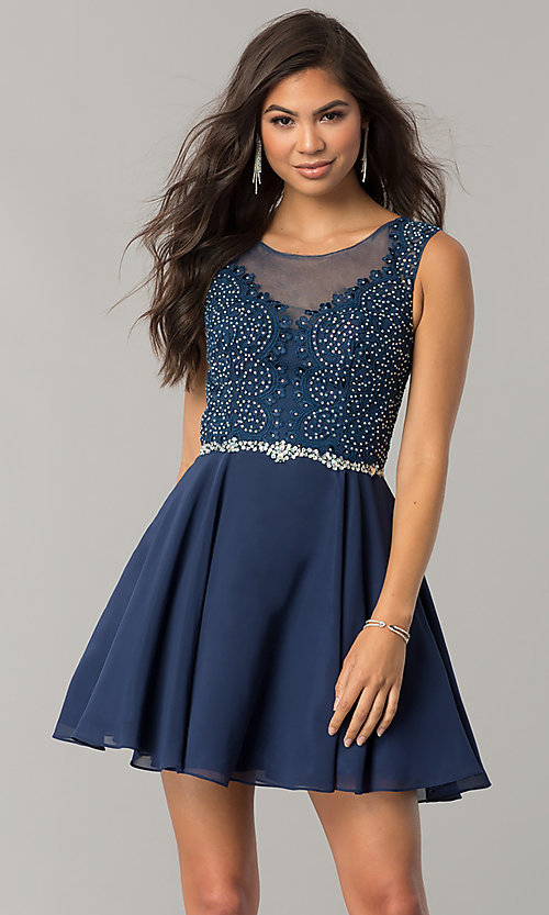 Image of beaded-applique-bodice short chiffon homecoming dress.  Style: DQ-2051 Front Image