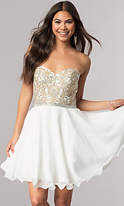 Image of strapless sweetheart short chiffon party dress. Style: DQ-2049 Front Image