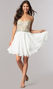 Image of strapless sweetheart short chiffon party dress. Style: DQ-2049 Detail Image 1