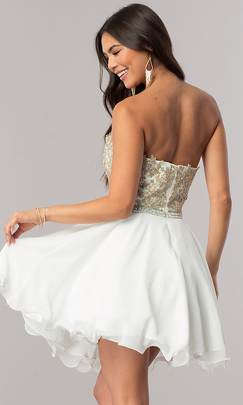 Image of strapless sweetheart short chiffon party dress. Style: DQ-2049 Back Image