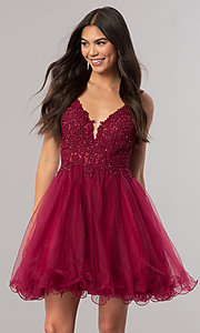 Image of short babydoll homecoming dress with beaded lace. Style: DQ-2054 Front Image