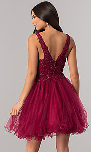 Image of short babydoll homecoming dress with beaded lace. Style: DQ-2054 Back Image