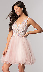 Image of short babydoll homecoming dress with beaded lace. Style: DQ-2054 Detail Image 2