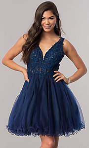 Image of short babydoll homecoming dress with beaded lace. Style: DQ-2054 Detail Image 3