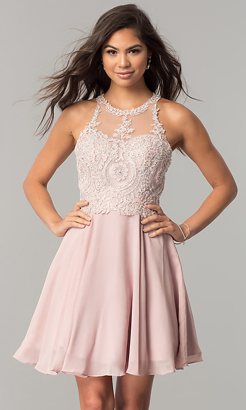 Image of illusion-lace short chiffon homecoming party dress. Style: DQ-9997 Detail Image 1