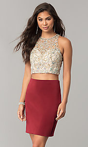 Image of short pencil-skirt homecoming two-piece dress. Style: DQ-2134 Detail Image 1