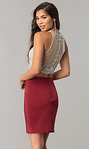 Image of short pencil-skirt homecoming two-piece dress. Style: DQ-2134 Back Image