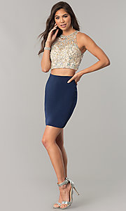 Image of short pencil-skirt homecoming two-piece dress. Style: DQ-2134 Detail Image 3