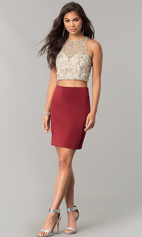 Image of short pencil-skirt homecoming two-piece dress. Style: DQ-2134 Detail Image 2