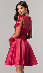 Image of lace-applique mock-two-piece short prom dress. Style: DQ-2034 Detail Image 2