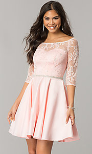 Image of lace-bodice short homecoming dress with sleeves. Style: DQ-2112 Detail Image 1