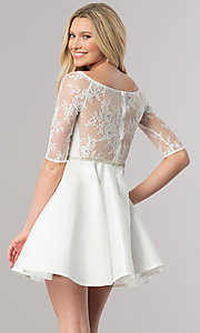 Image of lace-bodice short homecoming dress with sleeves. Style: DQ-2112 Back Image