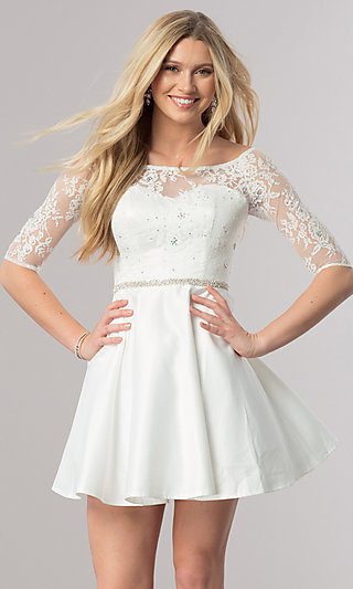 Lace-Bodice Short Homecoming Dress with Sleeves