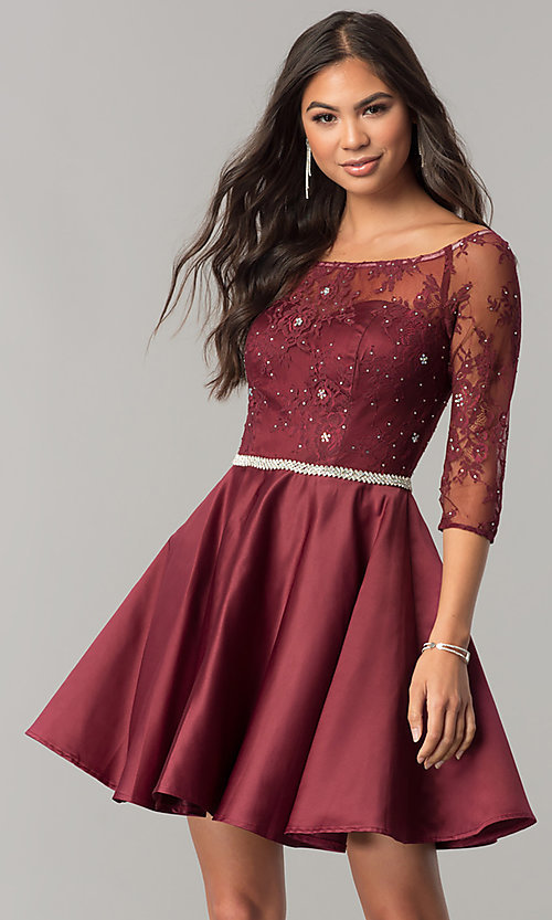 Image of lace-bodice short homecoming dress with sleeves. Style: DQ-2112 Detail Image 3