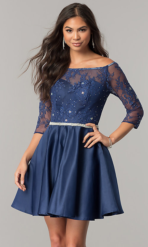 Image of lace-bodice short homecoming dress with sleeves. Style: DQ-2112 Front Image