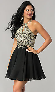 Image of short homecoming dress with beaded-lace applique. Style: DQ-2078 Front Image