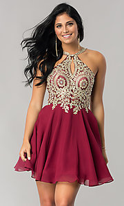 Image of short homecoming dress with beaded-lace applique. Style: DQ-2078 Detail Image 1