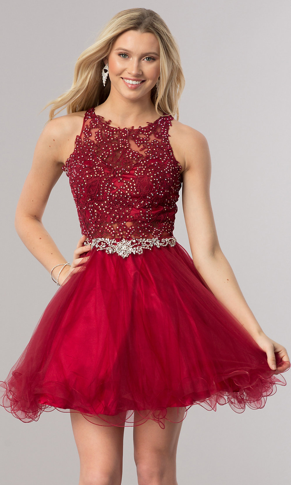 67173599b21 ... short homecoming dress with beading. Style  DQ-9999. Tap to expand