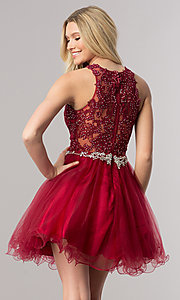 Image of lace-applique short homecoming dress with beading. Style: DQ-9999 Back Image
