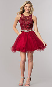 Image of lace-applique short homecoming dress with beading. Style: DQ-9999 Detail Image 1