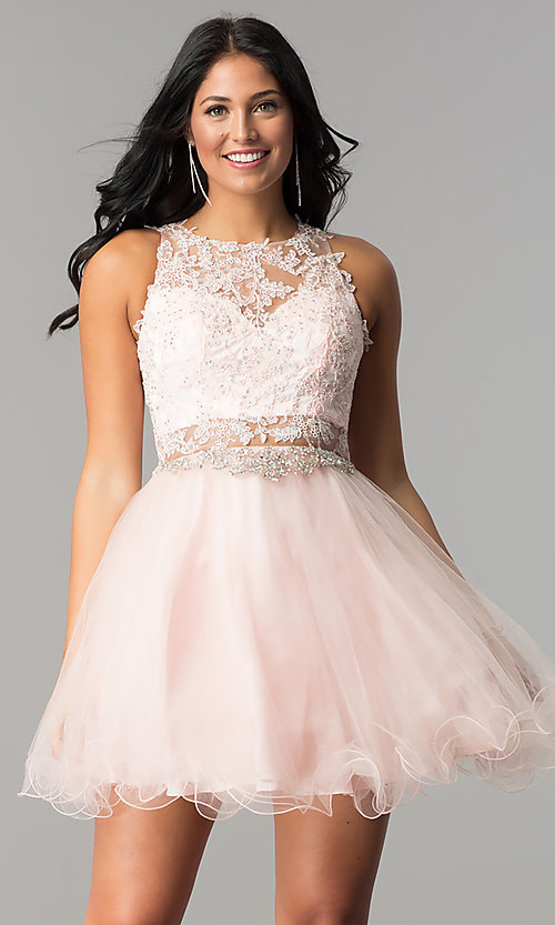 Image of lace-applique short homecoming dress with beading. Style: DQ-9999 Detail Image 2