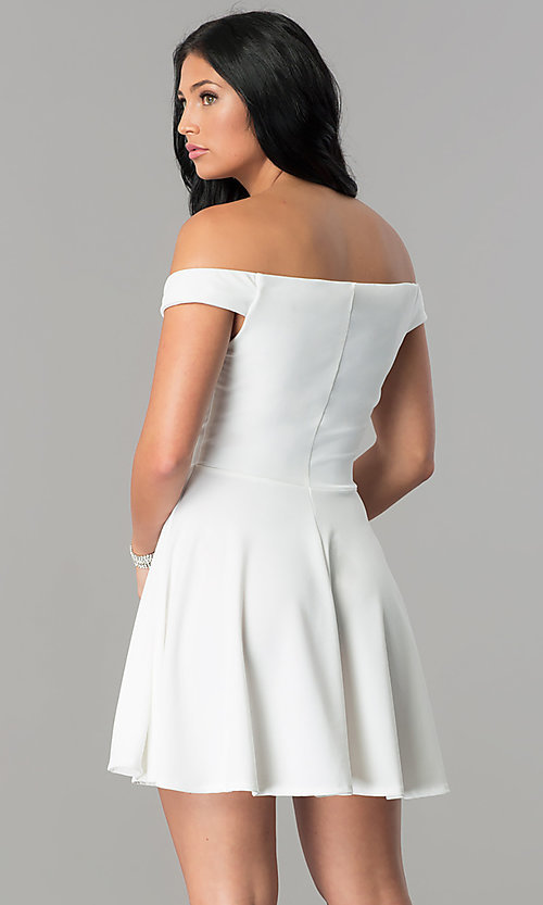 Image of off-the-shoulder a-line short homecoming party dress. Style: TW-4312 Back Image