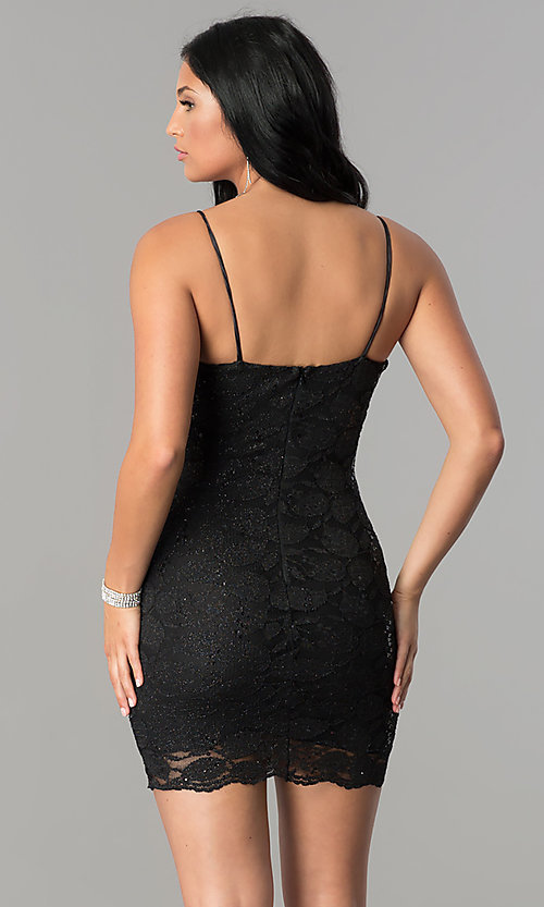 Image of short black lace homecoming dress with deep v-neck.  Style: TW-4316 Back Image