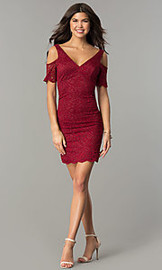 Image of cold-shoulder short lace wedding-guest party dress.  Style: MB-7181 Detail Image 3