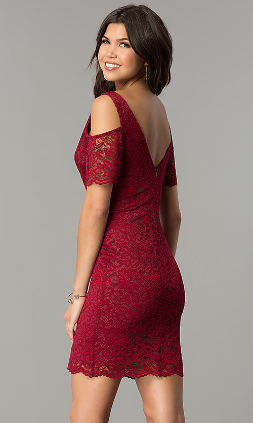 Image of cold-shoulder short lace wedding-guest party dress.  Style: MB-7181 Front Image