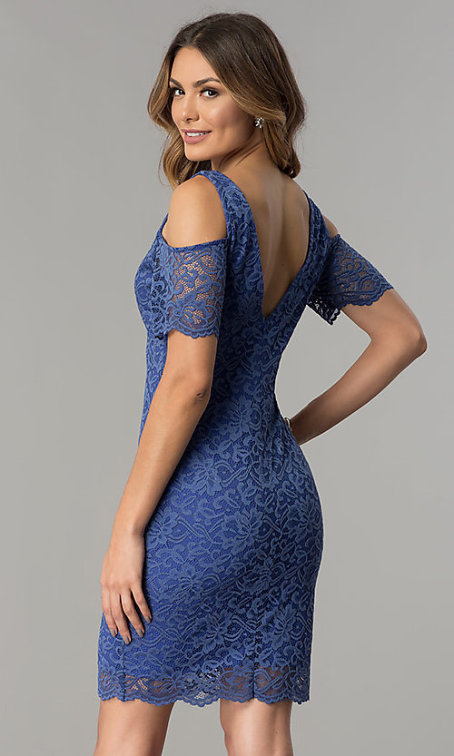 Image of cold-shoulder short lace wedding-guest party dress.  Style: MB-7181 Back Image