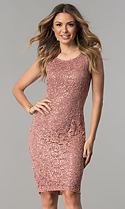 Image of sequin-lace short wedding-guest dress with cut out. Style: MB-7190 Detail Image 1