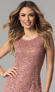 Image of sequin-lace short wedding-guest dress with cut out. Style: MB-7190 Detail Image 2