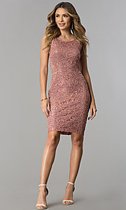 Image of sequin-lace short wedding-guest dress with cut out. Style: MB-7190 Detail Image 3