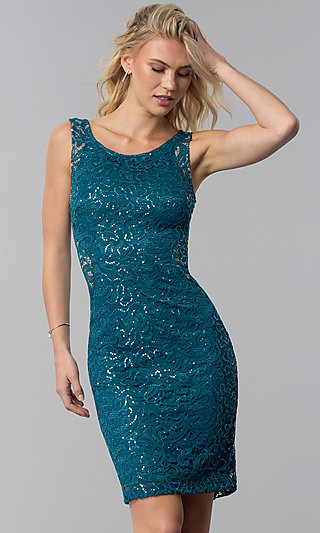 Sequin-Lace Short Wedding-Guest Dress with Cut Out