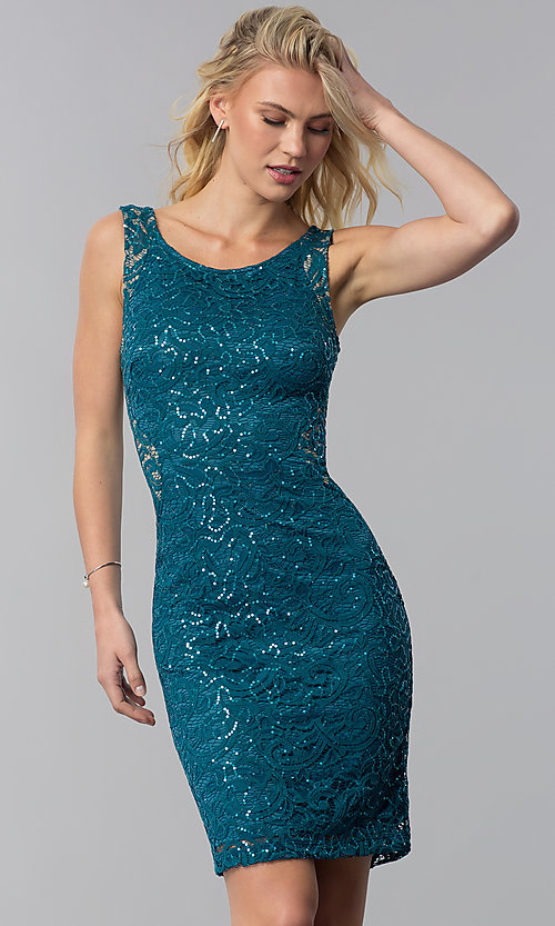 Image of sequin-lace short wedding-guest dress with cut out. Style: MB-7190 Front Image