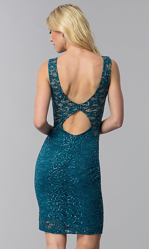 Image of sequin-lace short wedding-guest dress with cut out. Style: MB-7190 Back Image