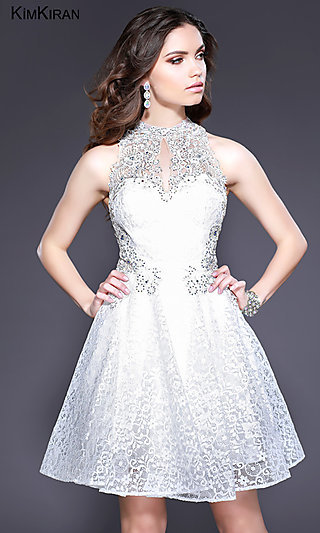 Racerback Short Homecoming Dress with Illusion Lace