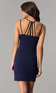 Image of multi-strap navy blue short homecoming party dress. Style: JOJ-JE-17531PG Back Image