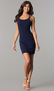Image of multi-strap navy blue short homecoming party dress. Style: JOJ-JE-17531PG Detail Image 1