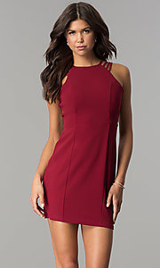 Image of multi-strap short burgundy homecoming party dress. Style: JOJ-JE-17532PG Front Image