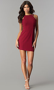 Image of multi-strap short burgundy homecoming party dress. Style: JOJ-JE-17532PG Detail Image 3