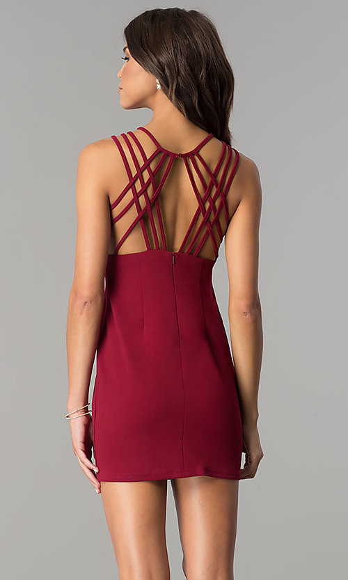 Image of multi-strap short burgundy homecoming party dress. Style: JOJ-JE-17532PG Back Image