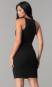 Image of illusion-cut-out short black cocktail party dress.  Style: JOJ-JE-17536PG Back Image