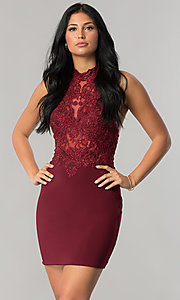 Image of short homecoming dress with beaded high-neck halter.  Style: NA-6309 Front Image